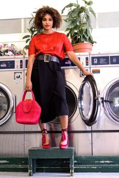 BLACK BLOGGERS | PHOTOSHOOT IDEAS | BLOGGER PHOTOSHOOT IDEAS | LAUNDROMAT PHOTOSHOOT | LAUNDROMAT PHOTOS | BLOGGER LOCATION IDEAS | PHOTOSHOOT LOCATION IDEAS | TERESE SYDONNA | SCHUTZ SHOES | MIDI SKIRT | HOW TO WEAR RED | Photoshoot Inspiration, Photoshoot Ideas, Simple Outfits, Cute Outfits, Black Fashion Bloggers, All About Fashion, Sustainable Fashion, Wear Red, Fashion Looks