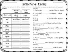 Worksheet inflectional endings read each action word create new this is a great activity for students to work on during centers for additional practice with verb endinged and ingudents will add the endings ed and ibookread PDF