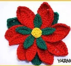 How to Crochet a Poinsettia | Learn how to crochet a flower Christmas style with this easy video tutorial and pattern.