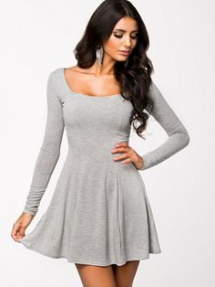 Long Sleeve Jersey Dress - Club L Essentials - Grey - Dresses - Clothing - Women - Nelly.com Uk