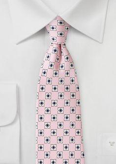 Flower Print Silk Tie in Petal Pink