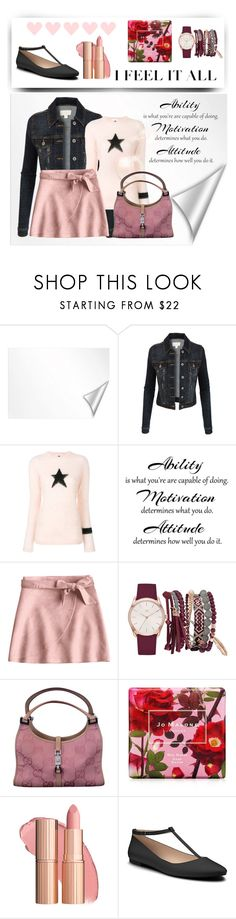 """""""Untitled #268"""" by anninatheano ❤ liked on Polyvore featuring Wall Pops!, LE3NO, Bella Freud, True Craft, Gucci, Jo Malone and Shoes of Prey"""
