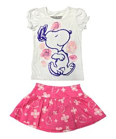 Look at this Pink & White Snoopy Tee & Skort - Toddler & Girls on #zulily today!
