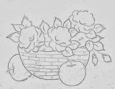 risco para pintar cesta com rosas e maças