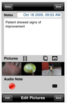 iConnect - Notes Edition, developed by Grembe, Inc. provides a basic documentation app with the ability to write notes, add pictures and record voice note. Secured with a password, notes can be shared by email.  Free for iPad and iPhone.