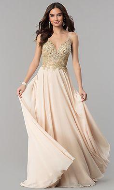 e091c6e9d54 Long Open-Back Rhinestone-Bodice V-Neck Prom Dress