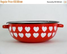 ON SALE Lovely vintage red enamelled pan with by VintagetoFrance