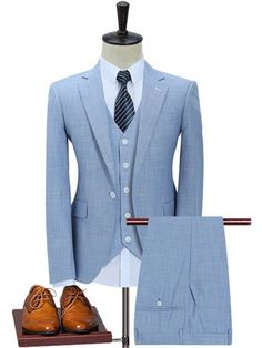 Plyesxale Slim Fit Men Suits One Button Dark Blue Light Blue Mens 3 Piece Suit - Men Mens 3 Piece Suits, Dress Suits For Men, Mens Suits, Men Dress, Mens Slim Fit Suits, Suit For Men, Mens Casual Suits, Suits Uk, Slim Suit