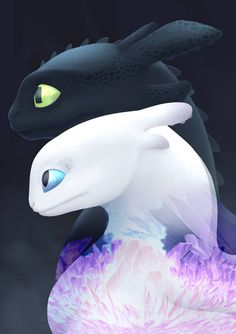 Light and Dark - Discover You Duo by graphic-ginger on DeviantArt Httyd Dragons, Cute Dragons, How To Train Dragon, How To Train Your, Toothless Wallpaper, Night Fury Dragon, Dragon Movies, Cute Disney Drawings, Toothless Dragon