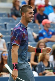 Thanasi Kokkinakis of Australia reacts during his first round Men's Single match against Janko Tipsarevic of Serbia on Day One of the 2017 US Open at the USTA Billie Jean King National Tennis Center on August 28, 2017 in the Flushing neighborhood of the Queens borough of New York City.