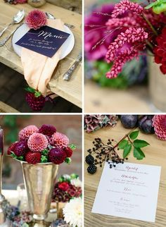 Style shoot berry dream- Style Shoot Beerentraum we like it very much, also from the colors (it is similar to the second color scheme ; Autum Wedding, Fall Wedding Flowers, Fall Wedding Colors, Wedding Shoot, September Wedding Colors, Aisle Flowers, Valentines Day Weddings, Decoration Table, Floral Centerpieces