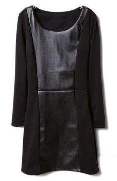 Black Round Neck Long Sleeve Contrast Leather Dress #SheInside