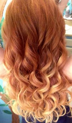Red To Blonde Ombre Curly Hair - Short Curly Hair red hair with blonde ombre - Ombre Hair Ombre Curly Hair, Best Ombre Hair, Red Blonde Hair, Blond Ombre, Short Curly Hair, Curly Hair Styles, Red Ombre, Dyed Hair, Short Ombre