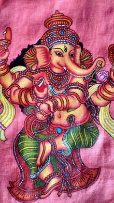 Awesome Fabric Painting of Lord Ganesha. Saree Painting, Kalamkari Painting, Kerala Mural Painting, Tanjore Painting, Fabric Painting, Painting & Drawing, Ganesha Painting, Ganesha Art, Lord Ganesha