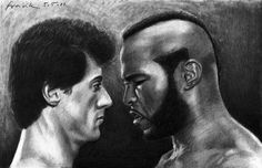 Rocky VS Clubber ©2011-2012   FrankGo  From Rocky III.  Actually I like Drago better (from Rocky IV), but I couldn't get MR.T's face out of my head.  Pencil 2H, 2B & 6B on Paper
