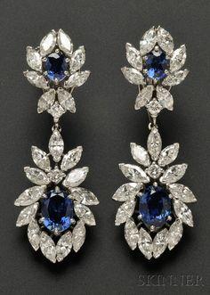 Diamonds & Sapphire Drop Earrings