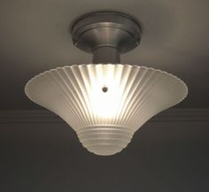 Antique-30s-40s-Vintage-Art-Deco-Glass-Ceiling-Light-Fixture-Satin-Crystal-Color Ceiling Lights, Ceiling Fans, Satin, Lighting, 1930s, Cottage, Magazine, Shopping, Home Decor