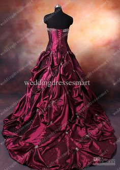 Wine Red Wedding Dress- If I could do it again, this would have been my dress. Love the color!!!