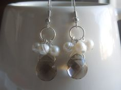 Fresh Water Pearl and Natural Toned Crystal Drop Earrings