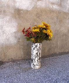 White Flaky Metal Art Vase, Industrial Decor - Wet, Dry Flower Vase