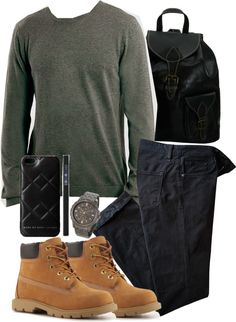 TEEN WOLF Scott Inspired Mens Outfit by veterization featuring timberland boots Lightweight jeans / Timberland boots / Real leather bag / Armitron gunmetal jewelry / MARC BY MARC JACOBS print iphone case /...