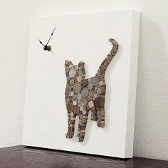 Rustic Modern Wall Clock Cat Wall Decor Cat Clock by TayberryDecor