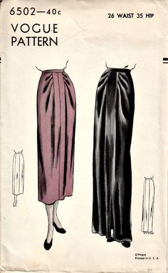 1940s Draped Skirt Pattern VOGUE 6502 Vintage Sewing Pattern UNCUT Factory-Folded Waist 26 - 1940s Draped Skirt Pattern  VOGUE 6502  by ShellMakeYouFlip, $33.50