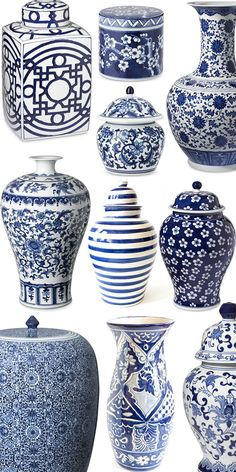 Ginger Jars, blue and white decor, chinoiserie