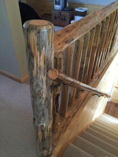Our cabin log railing & handrail