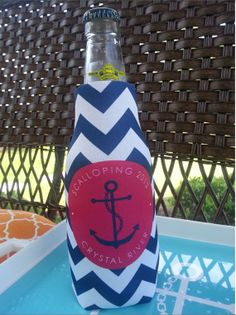 Personalized Bottle Koozie with Zipper - Monogram- Perfect Bridesmaid/ Bachelorette Party Gifts