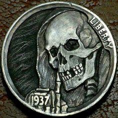 """Original Hobo Nickel Skull Skeleton """"Silent As The Grave"""" Coin Howard Thomas Hobo Nickel, Bullion Coins, Gold Mine, Old Coins, Skulls, Skeleton, Cactus, Ebay, Coins"""