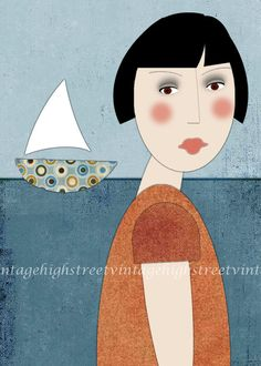 Contemporary Folk Art Wall Decor Print - I'd Rather Be Sailing 5x7