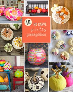 16 ways to make pretty pumpkins without carving :: no carve pumpkin designs