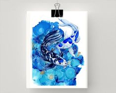 Print of a Blue and white Koi Fish Koi Fish, Textile Prints, Mixed Media Painting, Painting, Large Prints, Original Watercolor Painting, Art Inspiration, Original Watercolors, Prints