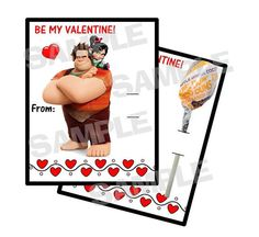 WRECK it RALPH personalized Valentine Cards holds by myhtmdesigns, $8.99