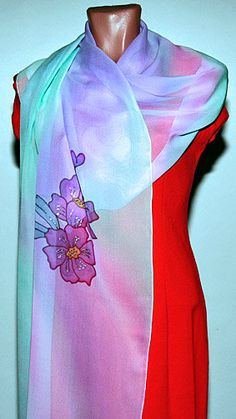 Lavender Mint Silk Scarf Shawl Wrap, Batik Scarf, Unique Handmade Scarves, Floral, Painted Silk Scarf, Wearable art, Ooak, Design, Chiffon by SilkFantazi on Etsy