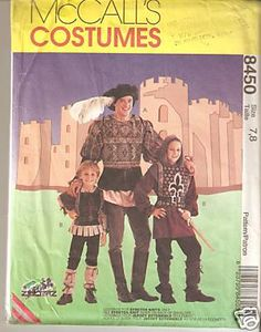 McCalls 8450 Mens Kids Boys Girls Medieval Renaissance Doublet Tabard Shirt Hat Leg Covers Hood Leggings UNCUT FF sewing pattern by ZooTerz Theatre, Halloween, Purim, historical re-enactment or church plays Out-of-print OOP 1996 vintage Costume Halloween, Halloween Costume Patterns, Halloween Items, Halloween Party, Men's Renaissance Costume, Medieval Costume, Mccalls Sewing Patterns, Vintage Sewing Patterns, Sewing Designs