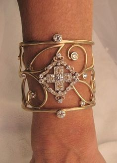 Custom made Diamond Cross and Gold Cuff bracelet