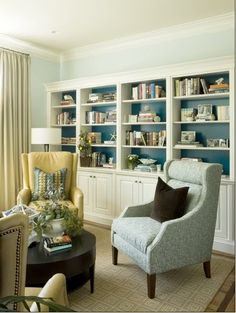 House of Turquoise: Liz Levin Interiors- Built-ins with back painted peacock blue. White Bookcase, Decor, Built In Bookcase, Family Room, Home And Living, Interior, House, Home Decor, Room