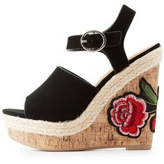 816898f6a15 City Classified Patch Cork Wedge Sandals ( 27) ❤ liked on Polyvore  featuring shoes