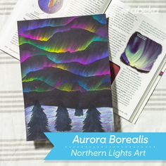 Aurora Borealis/ Northern Lights Craft - Abeka - Aspen Borisch - Re-Wilding Winter Crafts For Kids, Art For Kids, Craft Kids, Kids Crafts, Aurora Borealis Canada, Light Crafts, Small Paintings, Winter Art, Art Plastique