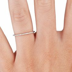 Whisper Diamond Ring in 18K White Gold// so tiny loveee//