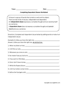 Worksheets Dependent Clause Worksheet what is dependent clause worksheet writing pinterest completing clauses worksheet