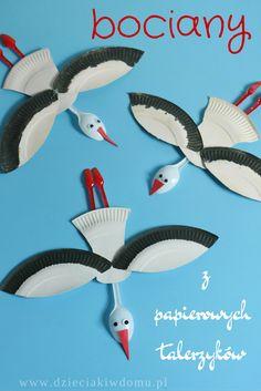 bociany z papierowych talerzyków