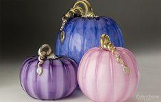 """Mini Pumpkin 5""""w, Small Pumpkin 7""""w and Large Pumpkin 9""""w — Hand Blown Glass"""