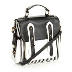 Designer black striped satchel