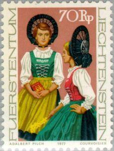 Sello: Costumes (Liechtenstein) (Costumes) Mi:LI 685,Yt:LI 626,Zum:LI 623