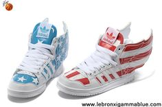 Sale Discount Kids Adidas Jeremy Scott Wings USA Flag Shoes Red Blue Fashion Shoes Store
