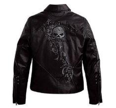 Harley Davidson Women's Wicked Swarovski Skull Black Leather Jacket 97123 09VW M | eBay