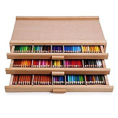 Amazon.com: Vencer 3 Drawer Wood Art Storage Box for Pencil, Pen, Pastel, Marker Set VAO-001